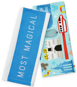 Disney World Parks Most Magical Place on Earth Kitchen Dish Towel Set of 2 - NEW