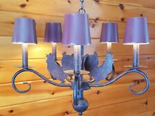 Vtg Metal 5 Rooster/Chicken Rustic Primitive Ceiling Chandelier 5 Light Fixture