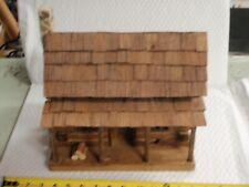 Vintage Hand-Made Folk Art Primitive Wood Log Cabin Rustic House Model STONE #3