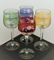 VINTAGE HUNGARY SET OF 4 MULTICOLORED ETCHED GLASS GOBLETS