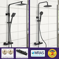 Niki Black Wras Approved Thermostatic Shower Mixer Slim Twin Head Round Square