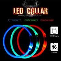 LED Dog Pet Leuchthalsband Einstellbare Größe Blinkend USB Wiederaufladbar