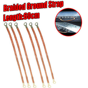 60cm Braided Earth Ground Straps Grounds To Auto Firewall Engine Body Frame 6pcs