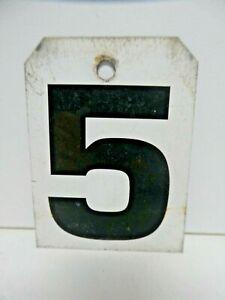 VINTAGE METAL SPORTING SCOREBOARD NUMBER EX SPORTS CLUB  HOUSE SIGN NUMBER 5