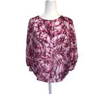 Dana Buchman Pink White Batwing Sheer 3/4 Sleeve Blouse Shirt Women's L Large