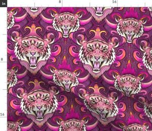 Pink Tiger Damask Heads Faces Tattoo Circus Spoonflower Fabric by the Yard