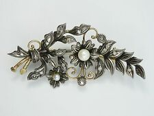 ANTIQUE 19c SILVER OVER GOLD OLD MINE ROSE CUT DIAMOND NATURAL PEARL PIN BROOCH