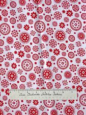"""Calico Fabric - Red & White Medallion Flower Toss - Cotton Sewing Quilting 35"""""""