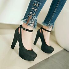 Womens Mary Janes High Heel Platform Round Toe Ankle Strap Party Shoes Plus Size