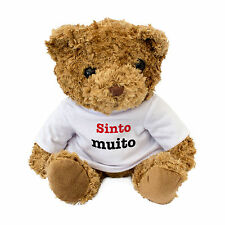 NEW - SINTO MUITO - Cute And Cuddly Teddy Bear Gift - I Am Sorry In Portuguese