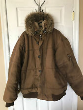 Brown 3XL Camoflage Civilian & Military Style Jacket Coat w/ Hood by Schott NYC