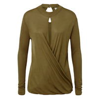 SEED Heritage Size M 10, 12 Wrap Over Top Long Sleeve Olive Green RRP 99.95 BNWT