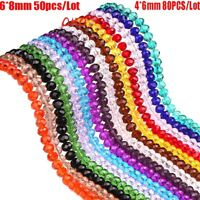 Wholesale 4*6/6*8mm Faced Rondelle Crystal Glass Loose Spacer Beads Jewelry Y1