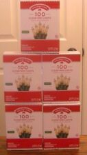 Lot of 5-Holiday Time 100 Clear Mini Lights-Christmas-Wedding-NEW-Green Wire