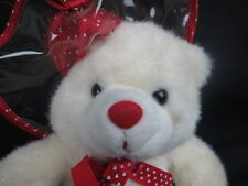 WALMART SPARKLY WHITE TEDDY BEAR PLASTIC RAIN HAT POLKADOT HEART BOW PLUSH CUTE