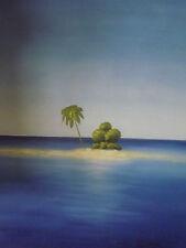 Isla desierta Palmera grandes pintura al óleo lienzo Blue Ocean Paisaje mínima