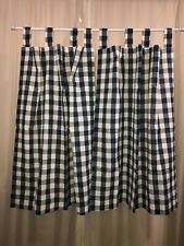 COUNTRY BLUE CHECK Window Tab Top Curtain Panels