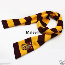 Harry Potter Wool Scarf Red Yellow Gryffindor House LOGO Knit Wrap Popular