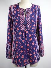 CHRISTOPHER&BANKS Diane Gilman Floral Blue Pink Peasant Tunic Blouse Top Size S