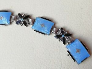 Vintage jewellery silver signed blue enamel Aksel Holmsen Norne bracelet Norway
