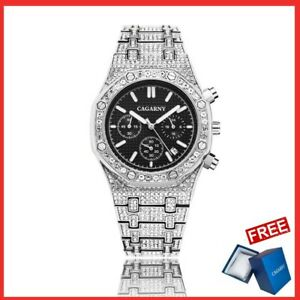 Iced Out Luxury Quartz Watches Diamond  Men's Watches for, Valentine  gift