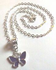 collier chaine argenté 46,5 cm avec pendentif papillon violet 17x20 mm