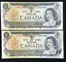 Lot of 2 Consecutive 1973 Bank of Canada One 1 Dollar Notes AU