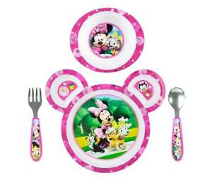 Minnie Mouse Feeding Set Baby Toddler Gift Girl 4 Pc Plate Bowl Fork Spoon NEW