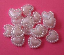 20 x bianco perla cuori ~ Flatback resina ~ Matrimoni, artigianato, carte ~ 10 mm
