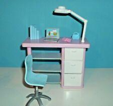 %***Barbie Möbel*Schreibtisch*Drehstuhl*Lampe*Laptop*Bücher*Radio*Handy***%