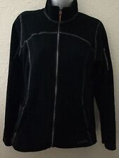 Eddie Bauer Fleece Jacket Womens Size Medium Black Zips Casual Athletic Light