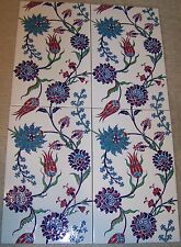 "Set of 10 Iznik Carnation & Floral 9 7/8"" x 15 3/4"" Raised Turkish Ceramic Tile"