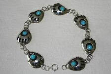 Navajo Made Sterling Silver & Turquoise Bear Paw Link Bracelet