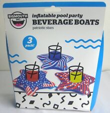 Big Mouth Inflatable Pool Part Beverage Boats Patriotic Stars 3 Pack New In Box