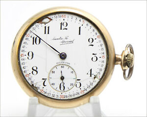 Rare ILLINOIS Santa Fe Special 12s 21j c. 1916 Gold Filled Pocket Watch - AS IS