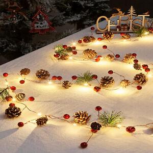 Pre-Lit Christmas Pine Cone Garland LED String Light Fireplace Wreath Tree Decor