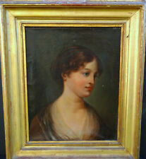 Portrait de Jeune Femme HST du début du XIXème siècle dans le goût de Greuze