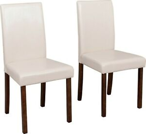 Pair of Leather Effect Midback Walnut Chairs - Cream