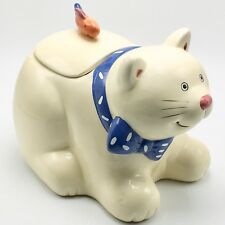 Cookie Jar Cat Coco Dowley Certified International Blue Bow Fish Lid 10 in. Long