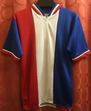 M 38 Vintage 1980s RED WHITE BLUE Cycling Jersey KOOLWICK FABRIC Low Mileage