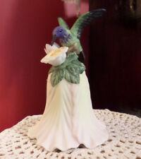 """Porcelain Bisque Hummingbird Bell Applied Flowers 5.5"""" tall"""