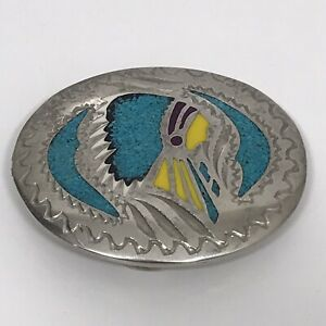 Vtg Dove Belt Buckle Oval Silvertone Turquoise/Enamel Inlay Indian Chief Desig