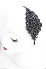 Navy Blue Vintage Beaded Headpiece Headband 1920s Flapper Great Gatsby 6924