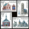Netherlands B611-B614,MNH.Religious architecture.Synagogue,Church,Cathedral,1985