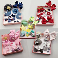 KE_ 10 Pcs Colorful Bowknot Hairpin Kids Baby Girls Hair Bow Clip Barrette Gif
