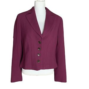 Ann Taylor Womens Blazer Jacket Purple 100% Wool Crepe 4 Button Fitted Size 8