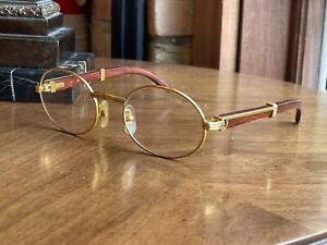 Cartier Giverny Vintage Gold Bubinga Wood Sunglasses Glasses Frames Size 53