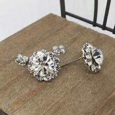 Flower Crystal Titanium Post Stud Earrings US Seller Made in Korea