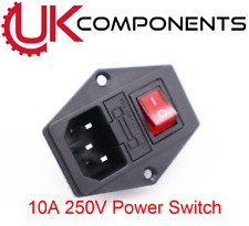 10A 250V Power Switch AC Power Outlet With Red Triple Rocker Switch Fused Module