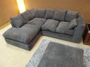 Jumbo Cord Corner Sofa Suite Set  Grey Left right 3 2